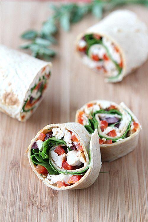 Chicken Pinwheel Sandwich Recipe with Roasted Red Pepper, Kalamata Ol ...