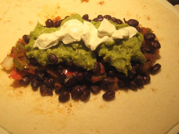 Shrimp Burrito-sautéed onion, red & green peppers, black beans ...