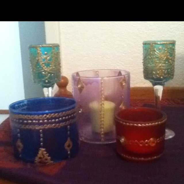 Moroccan candle holders puffy paint jewels amp hot glue enamel paint