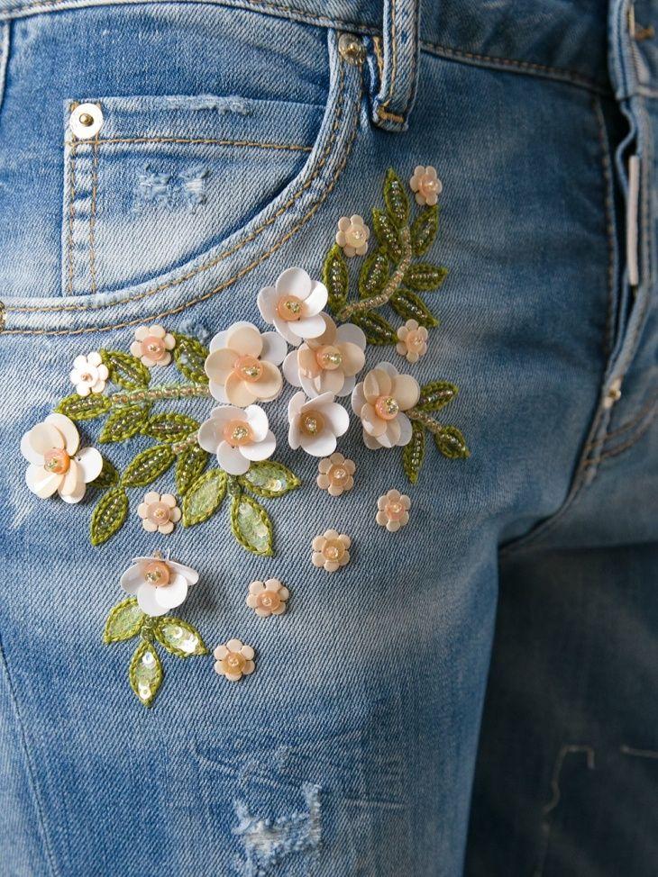 Белая вышивка на джинсах 142