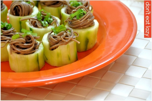 Chilled soba in cucumber cups! http://www.ambitiousdeliciousness.com ...
