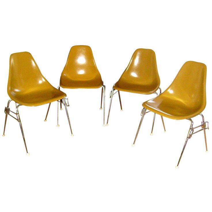 950 set of 4 mid century modern google burke texas plastic chairs