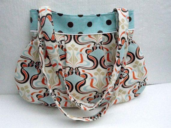 diaper bag large lots of pockets tote bag aqua print. Black Bedroom Furniture Sets. Home Design Ideas