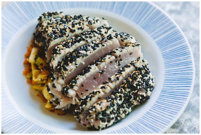 Pan-Seared Sesame Crusted Tuna Steaks   Remember these recipies!   Pi ...