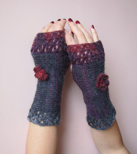 Feminine Crochet Fingerless Gloves in charcoal, purple and raspberry ...