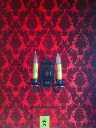 flocked velvet red wallpaper dining room pinterest