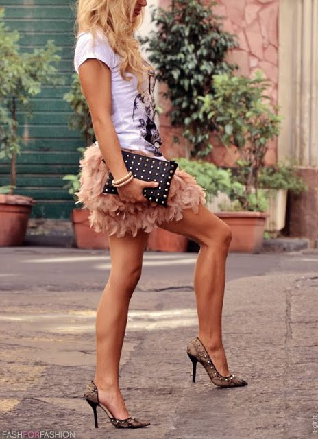 I like the feathered skirts look, especially paired with a casual or dressy T.