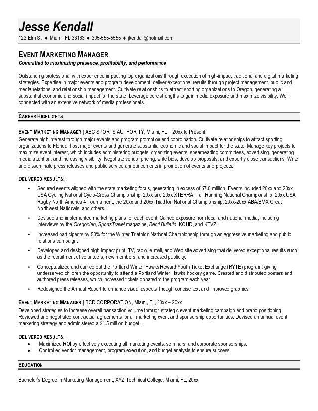 resume sample for marketing