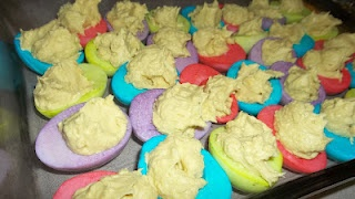 Dyed Deviled Eggs - my variation on an idea I found on Pinterest. Same concept, different filling recipe.