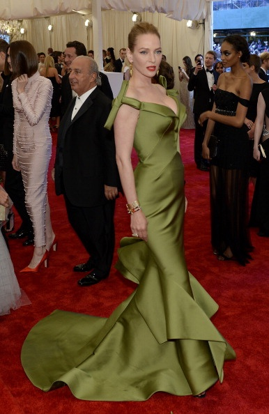 Uma Thurman in a lime Zac Posen at the Met Gala 2013