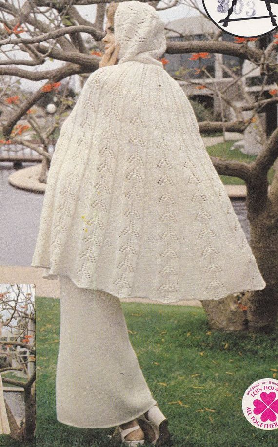 Knitting Pattern For A Cape : Spray Cape with Hood Knitting Pattern with Matching Maxi Skirt - PDF