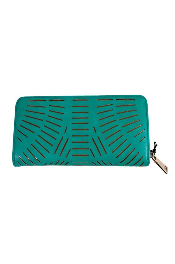 A green wallet-style clutch with cut-outs accented in gold.  Includes optional wrist strap.