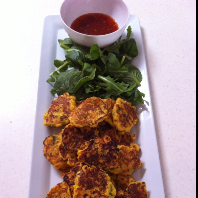 Thai Style Corn Fritters With Sweet Chilli Sauce Recipe — Dishmaps