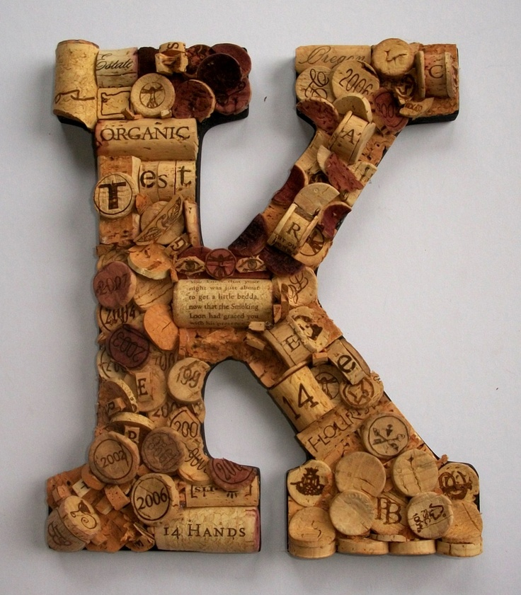 Wine cork letter k cool crafts pinterest for Cool wine cork projects