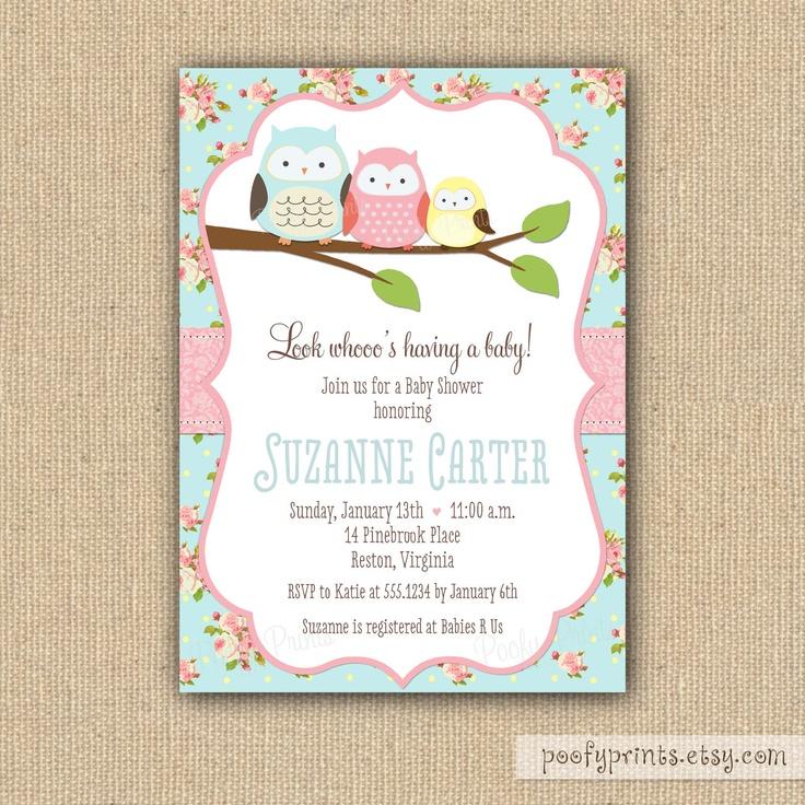 shabby chic owl baby shower invitations diy printable baby girl