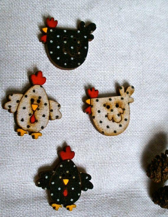 Buttons decorative hen chicken buttons crafts scrapbooking for Decorative buttons for crafts