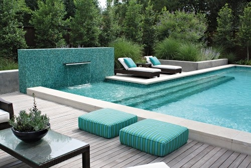 Contemporary Pool with Mosaic Wall and Fountain
