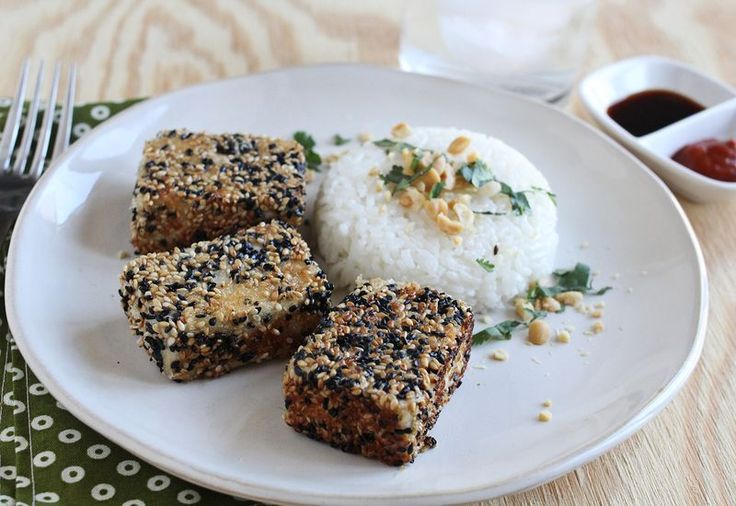 Marinated Sesame tofu (would probably make a great sammich or wrap ...