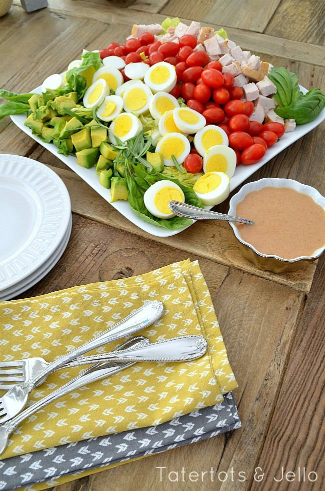 Layered Cobb Salad and Homemade Vinaigrette Dressing (Tatertots and ...