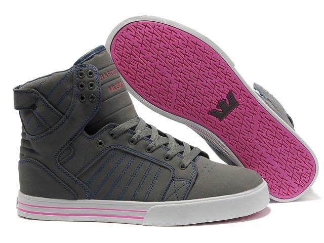Women's Supra Skytop Grey Pink Shoes