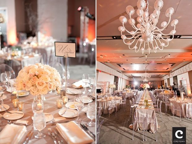 white on white wedding, love the clear chairs
