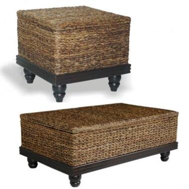 Jeffan Tropical Abaca Small Astor Coffee Table Set CT 211 ET 212