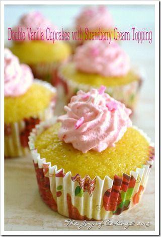 Double Vanilla Cupcakes with Strawberry Cream