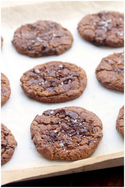 Brown butter chocolate chunk cookies topped with flake sea salt. Oh ...