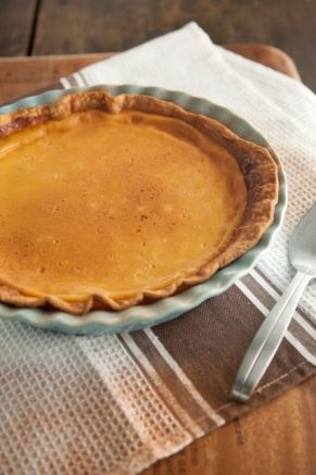 Eggnog Custard Pie - in the oven right now! What a shame no one else ...