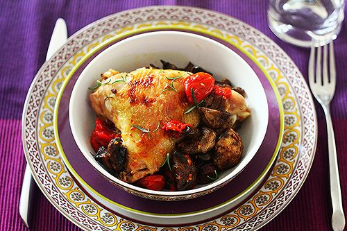 Roast Chicken with Mushrooms, Tomatoes and Olives