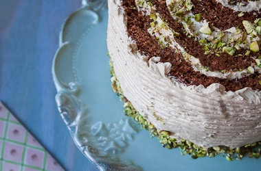 Chocolate Rolled Cake with Brown Sugar Buttercream Crushed Pistachios