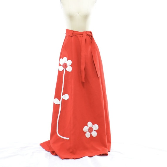 1970s Red Maxi Wrap Skirt Long Skirt Flower by 830Vintage on Etsy, $25