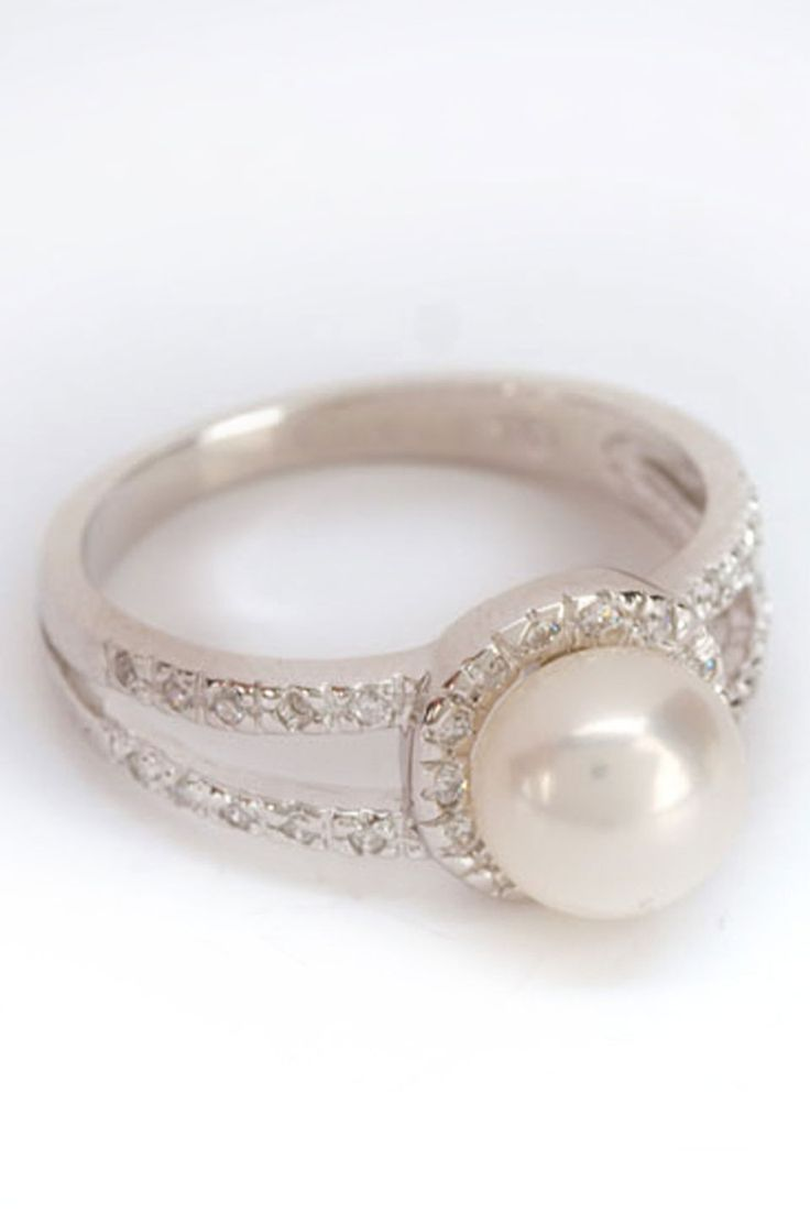 Pin by krista phillips wilde on replacement ring ideas for Pearl engagement ring with wedding band