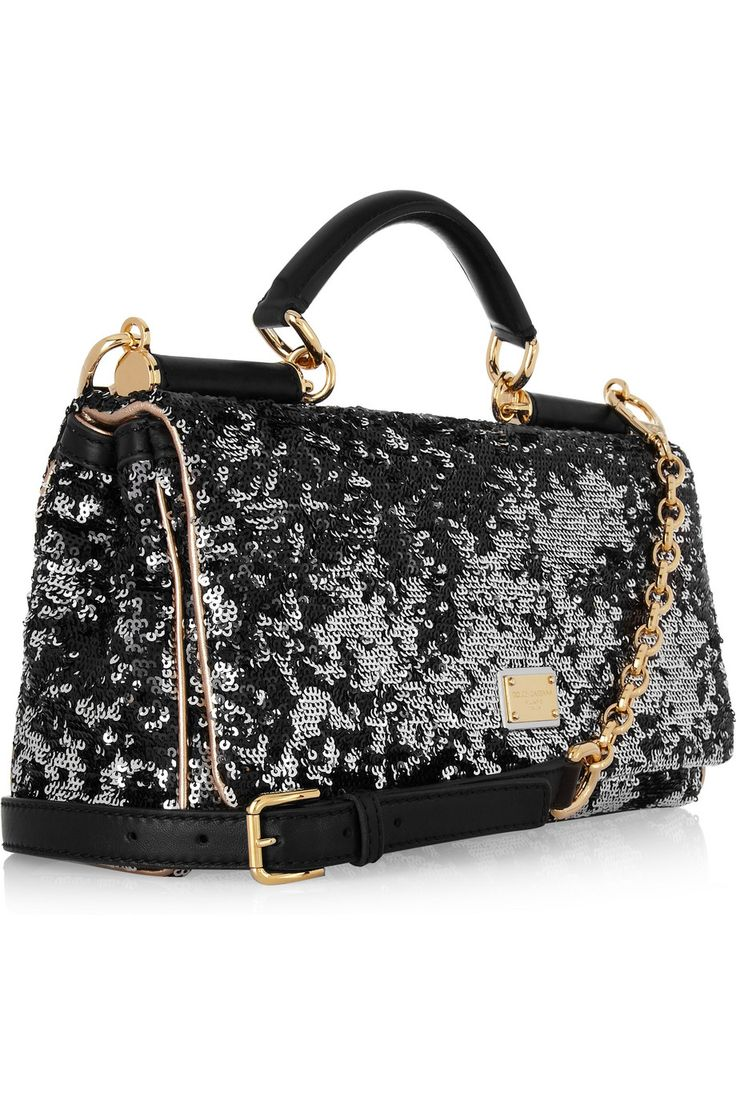 DOLCE & GABBANA  Sequined leather tote