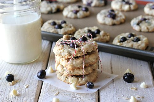 White Chocolate Blueberry Oatmeal Cookies - would sub raspberries!