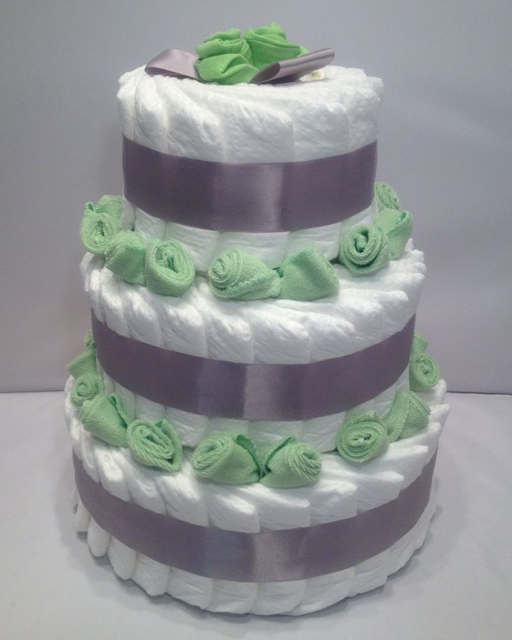 How to make diaper cakes with decorating tips for Baby diaper cake decoration
