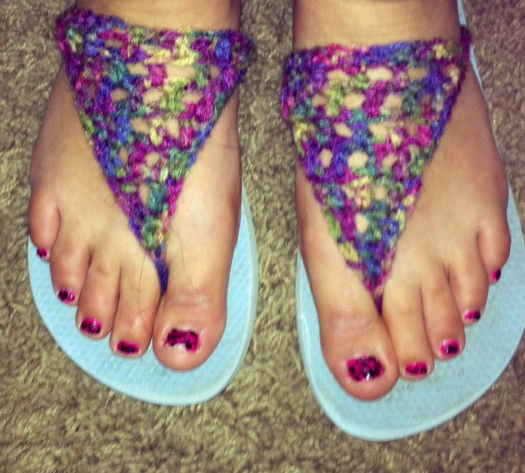 Crocheted flip flops. I fixed my broken flip flops with some yarn & a ...