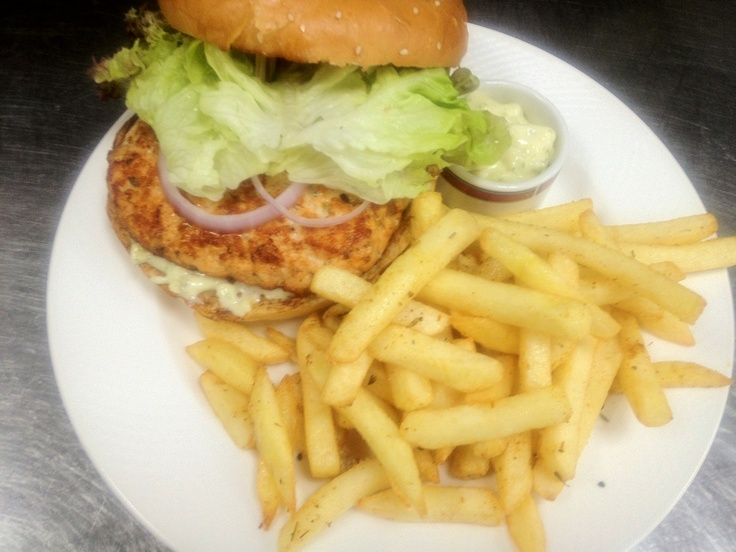 Salmon Burger w/House Made Dill Tartar Sauce and Fries