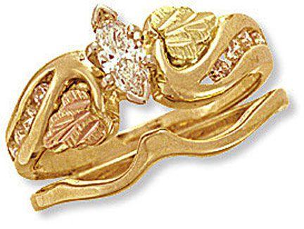 ladies black hills gold wedding set with engagement ring