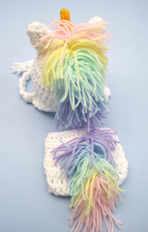 Crochet Pattern For A Unicorn Hat : CROCHET BABY UNICORN HAT DIAPER COVER SET knit infant ...