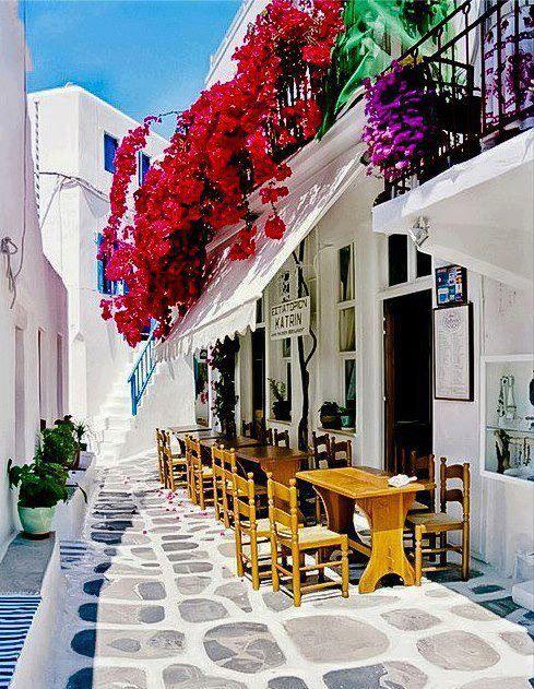 Cafe in Street, Mykonos Island, Greece.