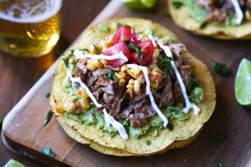 Slow Cooker Spiced Baby Back Rib Tostadas with Corn Relish & Crema ...