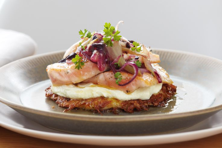 BRUNCH - Salmon, fennel, ricotta cream on a rosti stack.