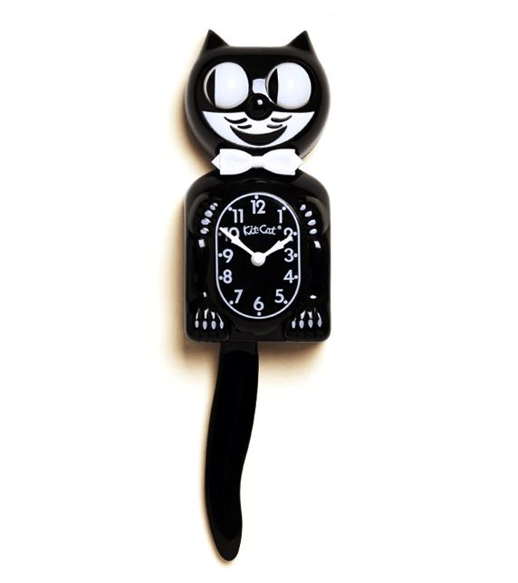 Cat clock with moving eyes and tail childhood memories - Kitty cat clock ...