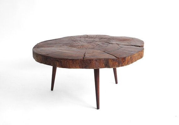 Vintage Tree Trunk Coffee Table Mid Century Modern Danish Retro