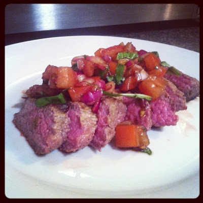 Flank Steak with Tomatoes, Red Onion and Balsamic