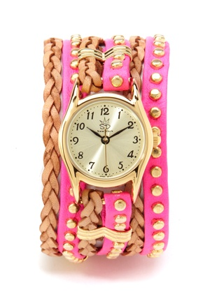 Small Studded and Braided Leather Watch