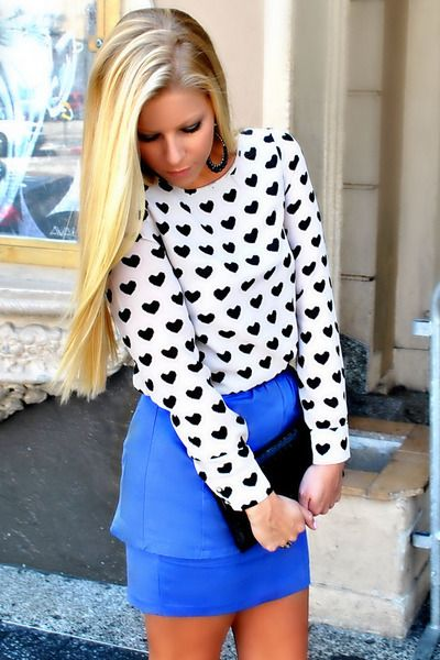 Hearts print top + blue Klein skirt via www.chictopia.com