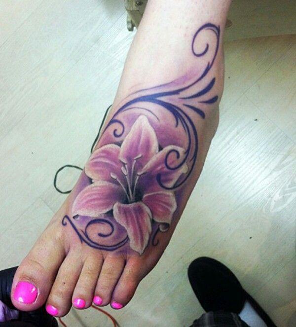 Cool lily flower foot tattoo | Tattoos | Pinterest