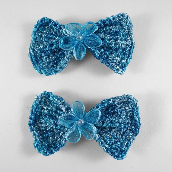 Crochet Hair Ribbons : ... Glitter Crochet Hair Bow with Pearl Flower and Teal Blue Ribbon